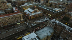 Aerial view of city center - market and shopping center - stock footage