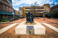 Statue of Edgar Allen Poe at the University of Baltimore, in Baltimore, Maryl Stock Photos