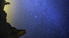 Astrophotography Time Lapse of Milky Way over Tufa Formation -Vertical Shot- - stock footage
