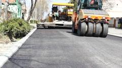 Paving Machine asphalt bitumen road  Stock Footage