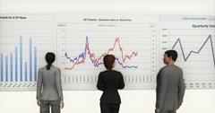 4k business team analyze finance pie charts & stock trend diagrams. - stock footage