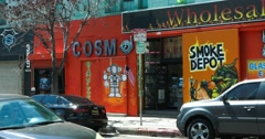 Tobacco shop and Cosmos painting in Los Angeles Downtown Stock Footage