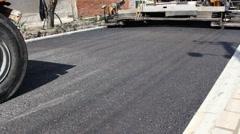 Paving Machine asphalt bitumen  Stock Footage