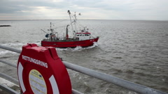 Shrimp boat at the North Sea Stock Footage