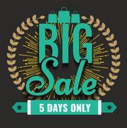 Creative Vector Super big Sale with vintage star or sunburst. - stock illustration