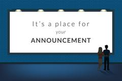 Big announcement banner blank with a couple standing near and looking at the Stock Illustration