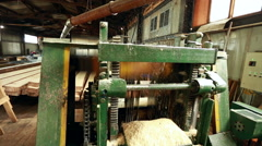 Close-up of machine running and flying shavings Stock Footage