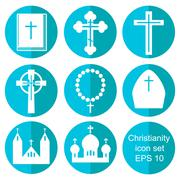 Christianity flat icons set - stock illustration