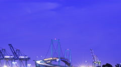 Time Lapse of Vincent Thomas Bridge at Port of LA at Twilight -Tilt Down- Stock Footage
