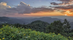 Timelapse of sunset in mountains in North of Thailand. Stock Footage