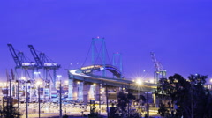 Time Lapse of Vincent Thomas Bridge at Port of LA at Twilight  Stock Footage