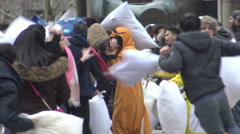 International Pillow Fight Day at Nathan Phillip's Square,  Toronto 2016 - stock footage