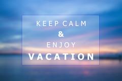 Keep calm and enjoy vacation quote poster background design Stock Illustration
