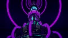 VJ Loop Neon Metal building structures Beat 128 bpm tunnel Stock Footage