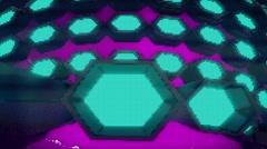 VJ Loop Neon Metal grid on fast Beat drop 128 ppm - stock footage