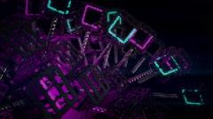 VJ Loop Neon Metal structures Beat 128 ppm Stock Footage