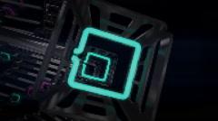 VJ Loop neon metal beats rollercoaster rotating camera 128 bpm  - stock footage