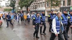 Dutch Police Officers Protesting Working Conditions - The Hague Netherlands Stock Footage