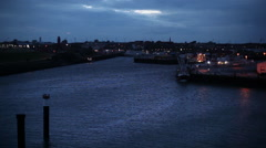 Harbor of Buesum at night Stock Footage