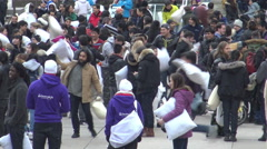 7th Annual International Pillow Fight Day, Toronto April 2016 - stock footage