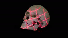 Three dimensional scan of human skull model with rotational grid - stock footage