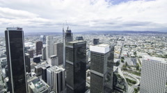 Time Lapse Overview of Los Angeles Cityscape during Stormy Weather -Zoom In- Stock Footage