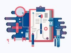 Doctor tools design flat - stock illustration