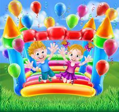 Kids Jumping on Bouncy Castle - stock illustration