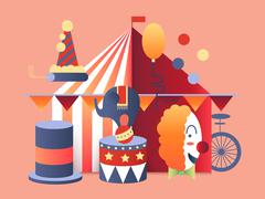 Circus tent design - stock illustration