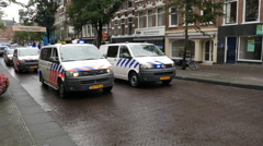 Dutch Police Vans & Police  Protesting  Working Conditions - The Hague - stock footage