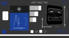 Modern Train Wagon - Digital Blueprint - blue 02 - stock footage