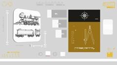 Locomotive - Digital Blueprint - Yellow 01 Stock Footage