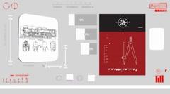 Old Train - Digital Blueprint - red 01 - stock footage