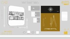 Train Wagon - Digital Blueprint - yellow 01 - stock footage