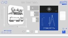 Locomotive - Digital Blueprint - Blue 01 Stock Footage