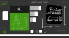 Locomotive - Digital Blueprint - green 02 Stock Footage