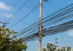Electrical wires, Thailand Stock Photos