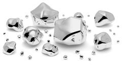 Shiny metal nuggets closeup Stock Illustration