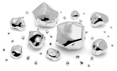 Shiny metal nuggets, pieces and grains Stock Illustration