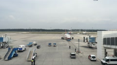 Time lapse.The airport the aircraft departs from Stock Footage