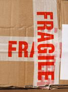 Fragile sign on box - stock photo