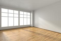 Empty room with parquet floor, textured white walls and window Stock Illustration