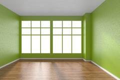 Empty room with parquet floor, textured green walls and big window Stock Illustration