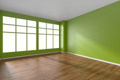 Empty room with parquet floor, green textured walls and big window - stock illustration