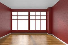 Empty room with parquet floor, textured red walls and big window Stock Illustration
