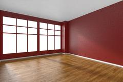 Empty room with parquet floor, red textured walls and big window Stock Illustration