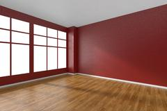 Empty room with parquet floor, textured red walls and window - stock illustration