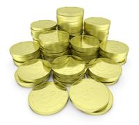 Gold dollar coins stack isolated on white closeup view Stock Illustration