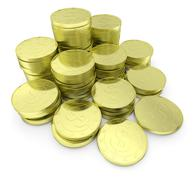 Gold dollar coins stack isolated on white close-up diagonal Piirros