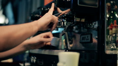 Bartender makes a latte at the coffee machine Stock Footage
